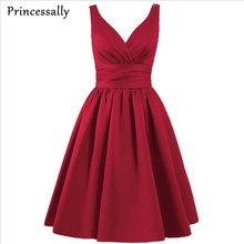Bridesmaid Dress Burgundy Coral Lavender Grey Knee Length V neck Strapless Simple Short Prom Party Gown Vestido Cheap Under 50
