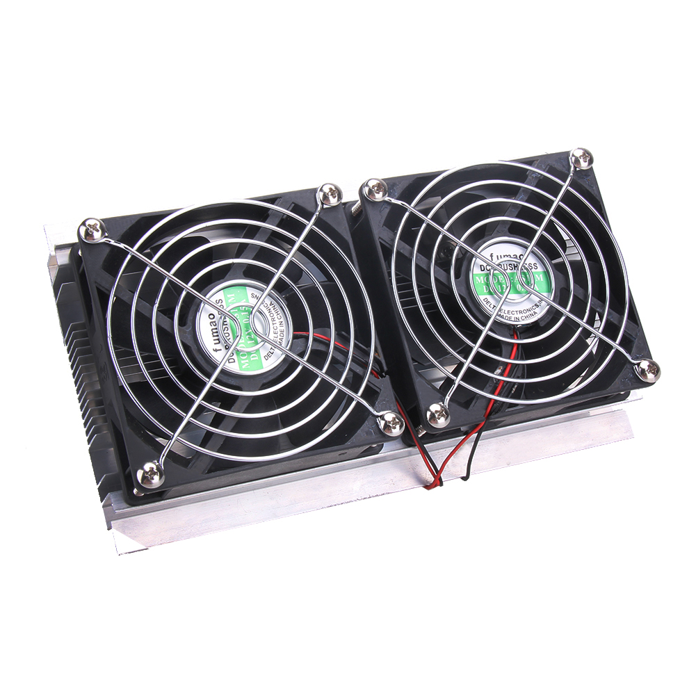 High Quality Thermoelectric Peltier Refrigeration Cooling System Kit Cooler 2 x Double Fan DIY New<br>