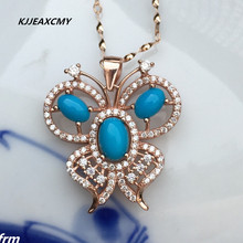 KJJEAXCMY boutique jewelry,Butterfly control welfare 925 Sterling Silver natural turquoise female models pendant wholesale(China)