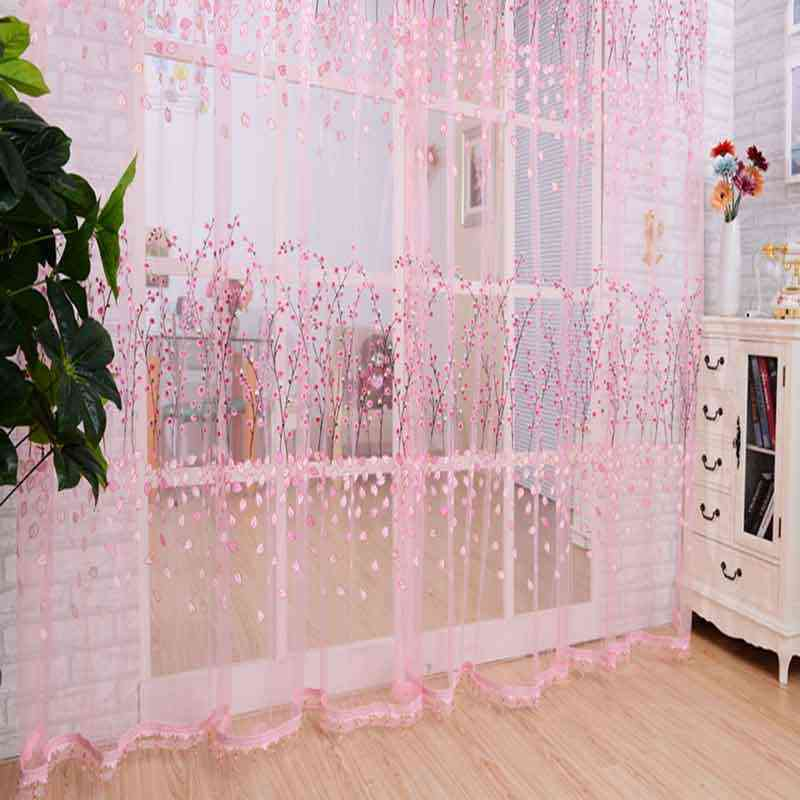 Plum Flower Printed Window Sheer Voile Tulle Curtain For Living Room Balcony Curtains For Bedroom Home Decoration Rideaux
