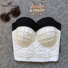 2017 Plus Size Handmade Women's Sexy Strappy Push Up Luxury Faux Pearl Beads Cropped Top Blusas Club Bralette Corset Bustier