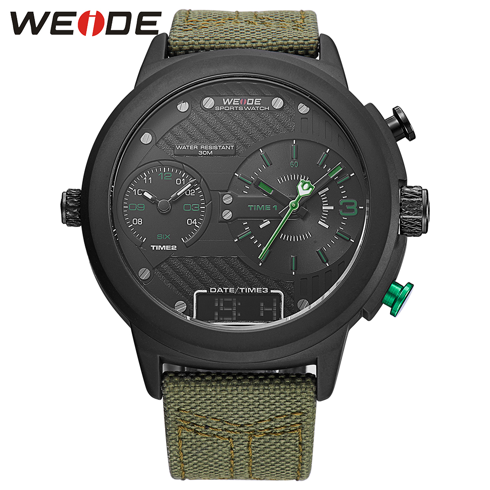 WEIDE Mens Male Clock Wristwatch Sport Date Quartz Calendar Nylon Band Buckle Watch Multiple Time Zone Chronograph Wristwatches<br>