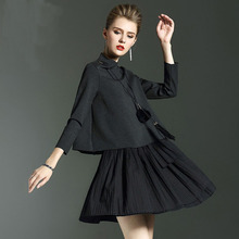 New Spring Summer 2017 Pure Color 7 Minutes Of Sleeve Two-piece Pleated Vest Skirt Suit Women Dress High Quality 4size 2color(China)