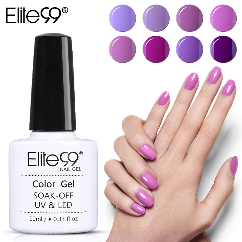 Elite99 10ML Gel Nail Purple Colors Fashion UV Gel Nail Polish Soak Off Vernish Semi Permanent LED Nail Polish Lacquer Gelpolish