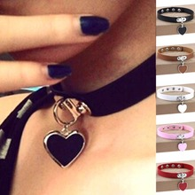 10 Colors New Arrival Vintage Choker necklace Cool Punk Goth Rivet Leather Collares Cute Heart Pendant Necklaces For Women