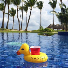 12pcs/lot Water Inflatable Duck Drink Cup Transportor Swim Ring Holiday Water Fun Pool School Toys