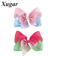 7'' New Arrival High Quality Ribbon Colorful Hair Bows For Lovely Kid Girls Dance Party Hairgrips Hair Accesories