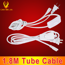 1.8M T8 T5 Tube 3 pin 2 pin Wires Integrated tube light Connecting Cable Connector with Switch Control LED Tubes Wall Lamp Light