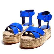 LALA IKAI women Flat Platform Sandals Hand-woven hemp rope Soles shoes for ladies Vacation leisure luxury brand XWF0942