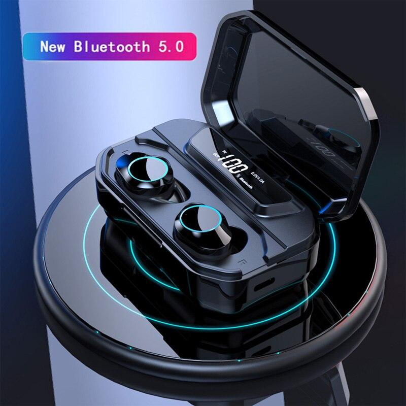 G02 TWS 2019 Wireless Bluetooth 5.0 Earphones ipx7 Waterproof Touch control true wireless earbuds 3300mah Power bank Earphone