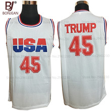 BONJEAN Mens Donald Trump 45 USA Basketball Jerseys Stitched Commemorative Edition Mesh White Shirts