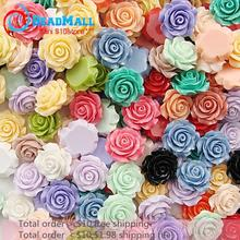 Min order $10 free shipping 20mm100pcs mix colour resin rose flower,resin flower Mixed Flowers Cabochons Cameo DIY210197(China)