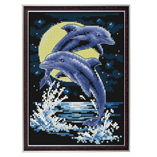 Golden panno,Needlework,Embroidery,DIY Animal Painting,Cross stitch,kits,14ct two dolphins  Cross-stitch,Sets For Embroidery