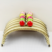 12.5CM 5PCS Bronze Smooth Metal Purse Frame Handle Kiss Clasp Candy Flat Bead Heads Purse Frames DIY Bag Clutch Sewing Accessory(China)