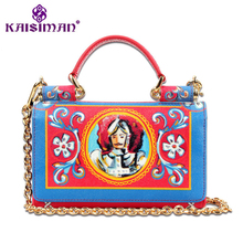 2018 Luxury Designer Luxury Custom Real Leather Handbag Lady Clutch Gold Chain Shoudler Bag Genuine Leather Women Messenger Bags(China)