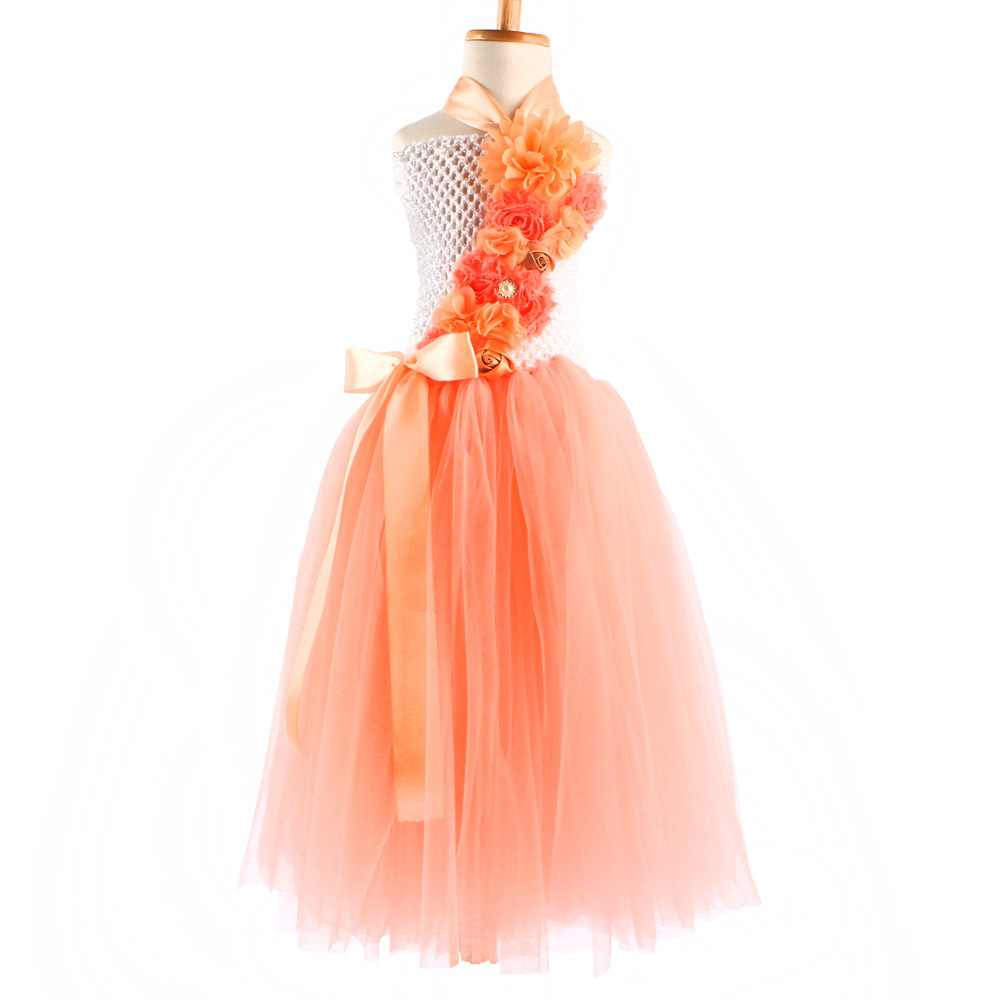 fashion flower patchwork crochet tutu baby girl one pieces summer maxi dresses for kids<br><br>Aliexpress