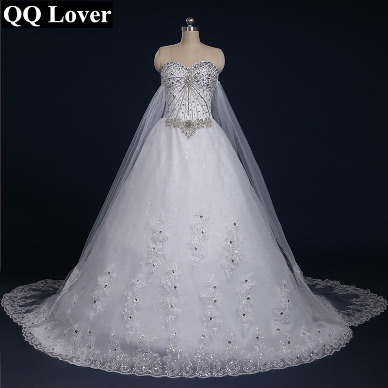 QQ Lover 2019 New Bandage Tube Top Crystal Lace Luxury Wedding Dress Custom Made Bridal Dress Gown Vestido De  Noiva