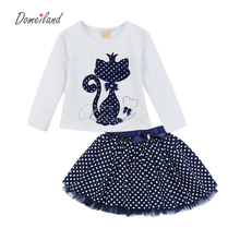 2017 Fashion Spring DOMEILAND Boutique Outfits Baby clothes Girls Sets Cute cat Print Long Sleeve Tops Bow Tutu Skirts suits(China)