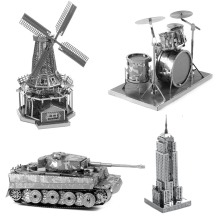 Multi-Style 3D Puzzle Educational Toys Jigsaw Puzzles For Kids Tank Building Metal Stainless Steel DIY Assembly Model