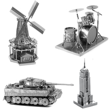 Multi-Style 3D Puzzle Educational Toys Jigsaw Puzzles For Kids Tank Building Metal Stainless Steel DIY Assembly Model(China)