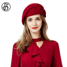 FS Wedding Hat For Women Vintage Red Ladies Wool Felt Winter Fascinator Pillbox Hats Fedoras With Bow Church Hats
