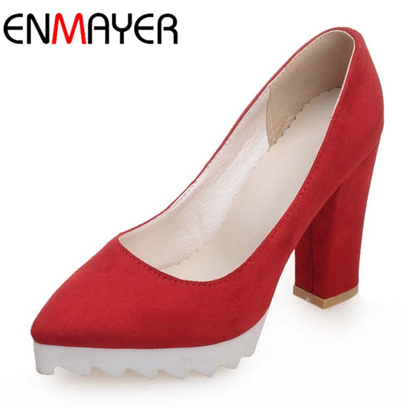 Red black purple pink 2017 New Fashion Brand Pointed Toe High Quality Full Shoes Womeen Pumps Suede Party Wedding Shoes Woman<br><br>Aliexpress