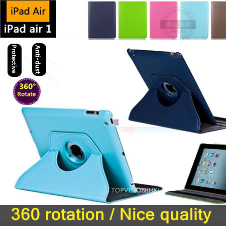 360 rotation stable stand support leather for apple ipad air 1 case for ipad air cover smart wake sleep protect shell (iPad 5)<br><br>Aliexpress