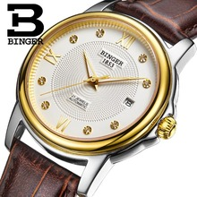 Genuine Switzerland BINGER Brand Mens automatic mechanical self-wind sapphire watch leather strap waterproof table Barton sery(China)