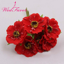 Free shipping 60pcs 5cm Silk Fabric Rose Bouquet Artificial Poppy Cherry Blossom Wedding Flowers For Garland Hair Decoration