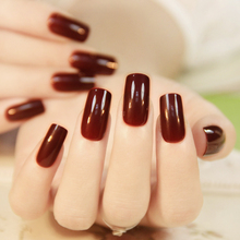24Pcs Wine Red Christmas New Year Fake Nails With Design Artificial Nails Tip with Adhesive Glue Sticker UnhasTips Manicure Tool(China)