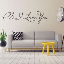 PS I LOVE YOU DIY Quote Vinyl Wall Art Sticker Mural Decal Home Decor Removable(China)
