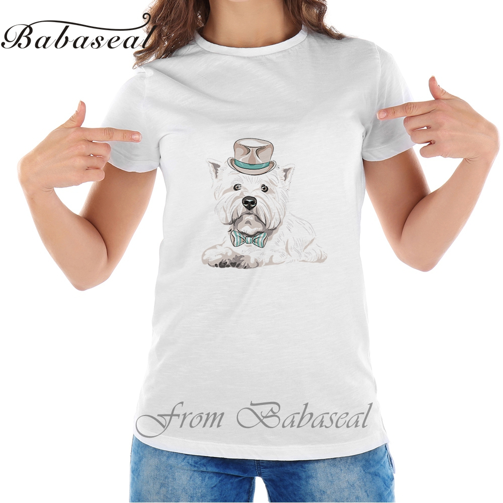 Babaseal Top Brand T Shirt Funny Cartoon Dog Tee Vector West Highland White Terrier Breed Match Shirt Women Tops 2017