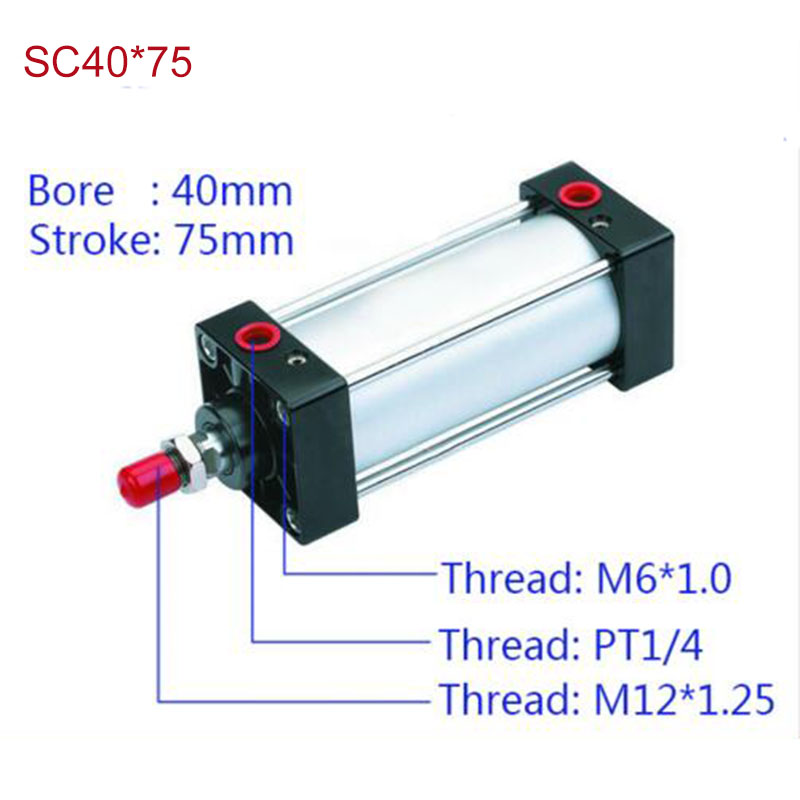 SC40*75 Free shipping Standard air cylinders valve 40mm bore 75mm stroke SC40*75 single rod double acting pneumatic cylinder<br><br>Aliexpress