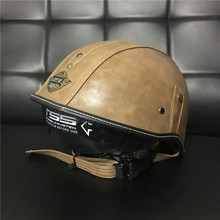 Retro Motorcycle Helmet Open Face Leather Helmet Harley Moto Motorcycle Helmet vintage Motorbike Vespa with Visor Goggles DOT(China)