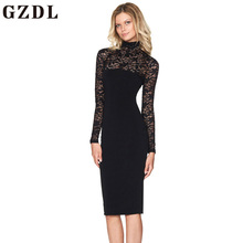 Buy GZDL Sexy Lace Club Women Midi Dress Vestidos Autumn Winter Long Sleeve Pencil Dress Fashion Patchwork Turtleneck Dresses CL4430 for $9.35 in AliExpress store