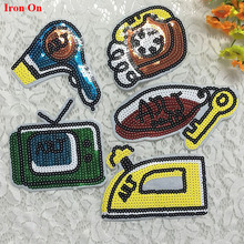 5pcs Key Hair Dayer Iron Sequined Patch Glitter Embroidery Patches For Clothing Apparel Motif Appliques Badge parches bordados