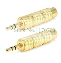 "20 pcs Gold 6.3mm 1/4"" Mono Female to 3.5mm 1/8"" Stereo Male Audio Adapter Headphone(China)"
