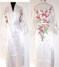 White Chinese Women's Silk Satin Robe Embroidery Kimono Gown Flower S M L XL XXL XXXL Free Shipping MR-023(China)