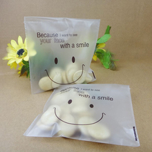100 Pcs/Pack Cute Smile Packing bag Self Seal Adhesive Cellophane Sweet Cookies Candy Party Gift Bag IC879490