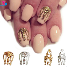 Wholesale Hot 100pcs 3D Gold Silver Metal Design Nail Art Decoration DIY Crafts Nail Supplies Glitter Charm Metal Studs Manicure