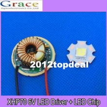 Free Shipping 1set 30W 6V Cree XHP70 Natural White / White Led Emitter Lamp Light + 5 Modes 26mm 6V Led Driver