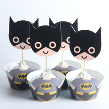 24pcs/lot Big Batman Paper Cupcake Wrappers Toppers For Kids Party Birthday Decoration Cake Cups(12 wraps+12 topper)