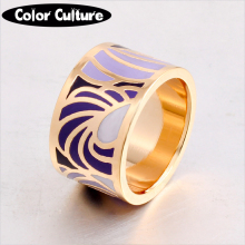 The New High-end Ceramic Rings Women Big Rings for Women 1.3cm Feather Pattern Enamel Ring wholesale
