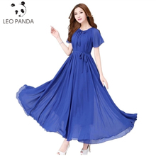 Reversible Style Fashion Summer Women Grace Short Sleeve Chiffon Round Neck Bohemia Solid Color Beach Dress (give belt) LCY51(China)