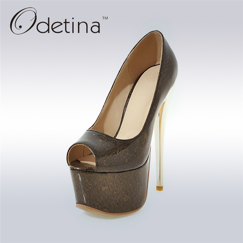 Odetina 2017 New Fashion Extreme High Heels Sexy Peep Toe Women Pumps Platform 16cm Stilettos Party Shoes Summer Big Size 31-48<br>