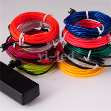 10sets 3M Flexible Neon light EL Light wire Rope Tube Red Green Yellow Purple Orange Blue Lemon Pink White with controller 2.3mm(China)