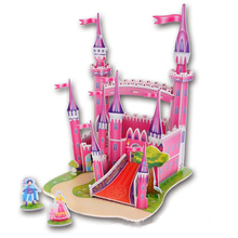 New Arrival Cute Educational 3D Model Pink Castle DIY Foam Puzzle Jigsaw Crafts Children Kids Toy Gift