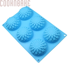 COOKNBAKE DIY Silicone Handmade Soap Mold 6 Lalttices Sunflower Shape Silicone Cake Mold SSCM-001-8(China)
