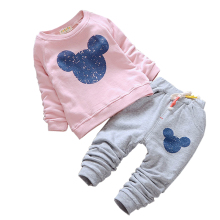 Hot sale Baby Girl Clothes 2017 Spring Baby Clothing Sets Cartoon Printing Sweatshirts+Casual Pants 2Pcs for Baby Kids Clothes