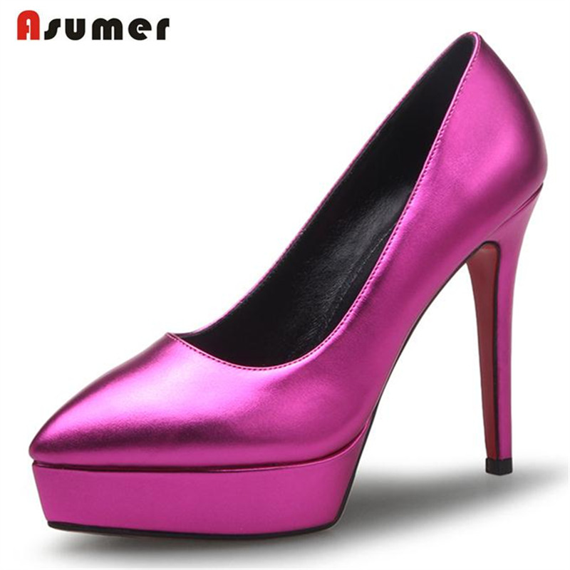 ASUMER Three colors thin high heels shoes women pointed toe shallow wedding shoes platform big size 33-40 pumps single shoes <br><br>Aliexpress